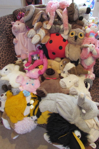 blanket made of cuddly toys sewn together