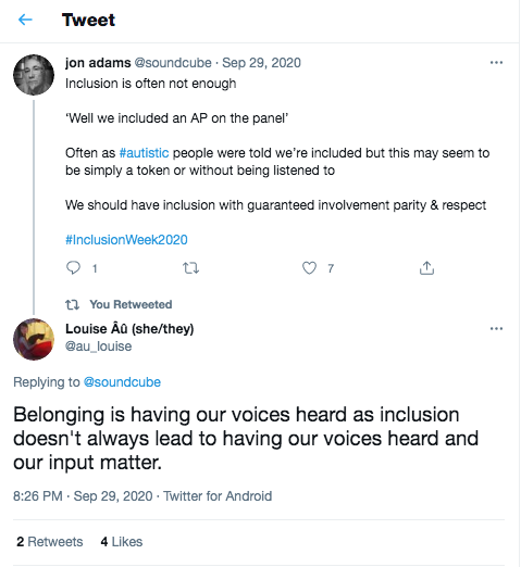 Twitter post saying 'Belonging is having our voices heard...'