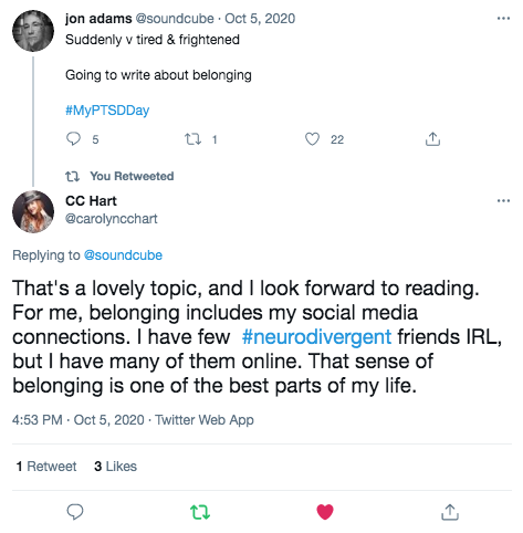 Twitter post saying '... belonging includes my social media connections.... that sense of belonging is one of the best parts of my life.'